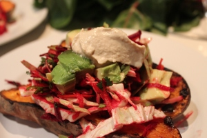 baked sweet potatoe with winter slaw